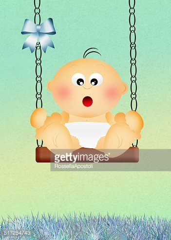 baby boy on swing Clipart Image.