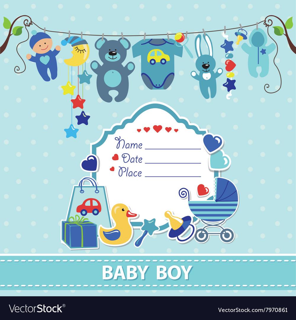 New born baby boy card shower invitation template.