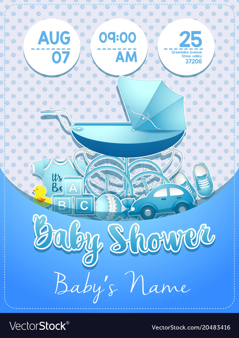 Baby shower boy invitation template with toys.
