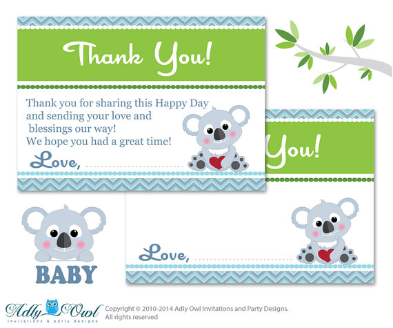 Boy Koala Thank you Card Printable for Baby Boy Shower or Birthday.