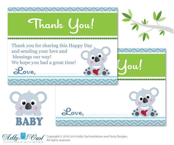 Boy Koala Thank you Card Printable for Baby Boy Shower or Birthday.