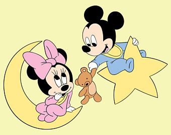 Baby Mickey Mouse Baby Minnie Mouse SVG Nursery Disney DXF.