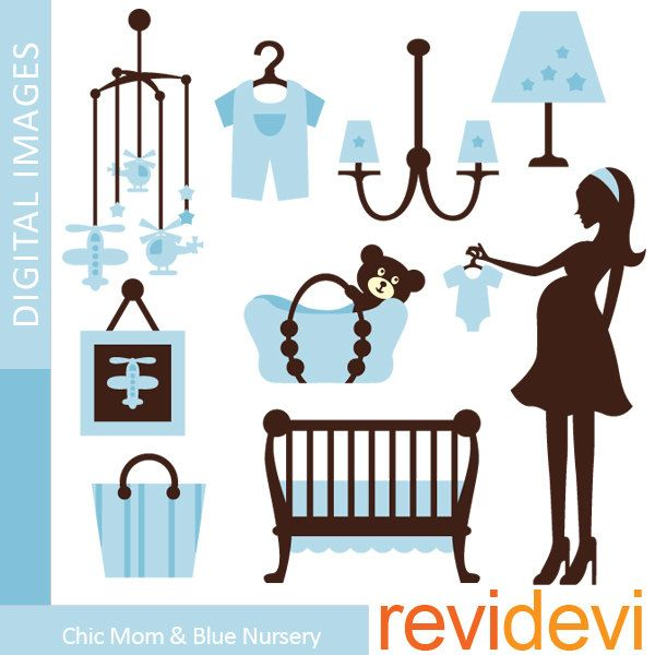 Baby shower clip art PNG commercial use. Blue baby boy.