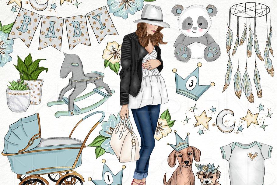 Baby Boy Nursery Clip Art ~ Illustrations ~ Creative Market.