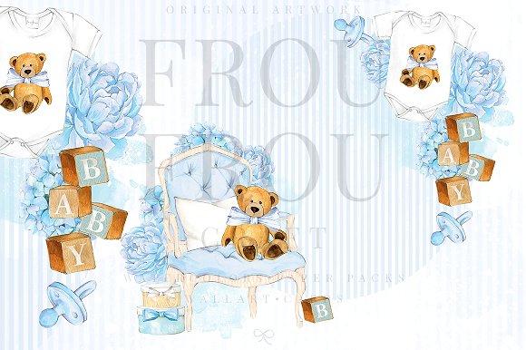 Watercolor Baby Boy Nursery Clipart.