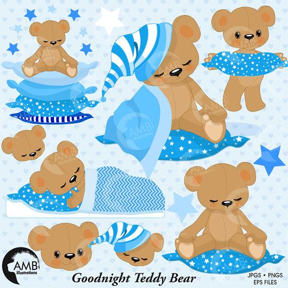 Teddy Bear Clipart, Baby Boy Nursery clipart, Slumber Party.