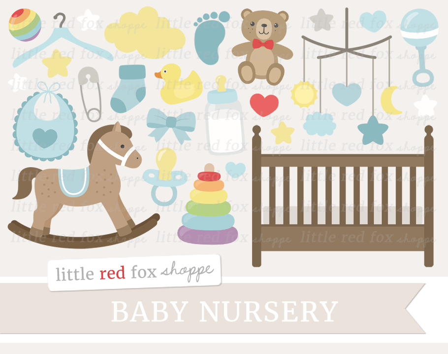 Baby Boy Nursery Clipart By Little Red Fox Shoppe.