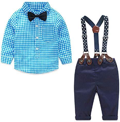 Christmas Newborn Baby Boy Clothes Set Shirt + Bowtie + Suspender Pant 4pcs  Toddler Boy Gentleman Outfits Suit Set.