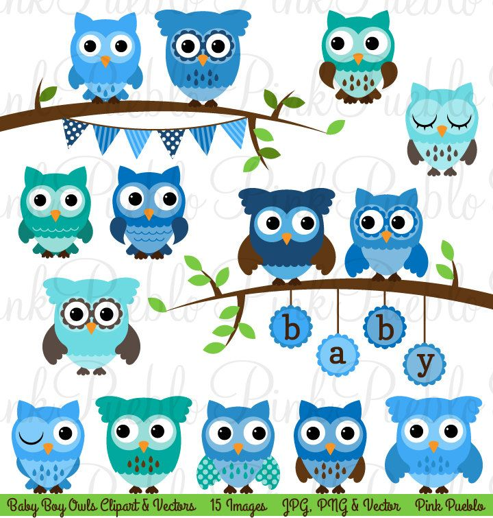 Baby Shower Boy Owl Clipart Clip Art, Boy Baby Shower Owl.