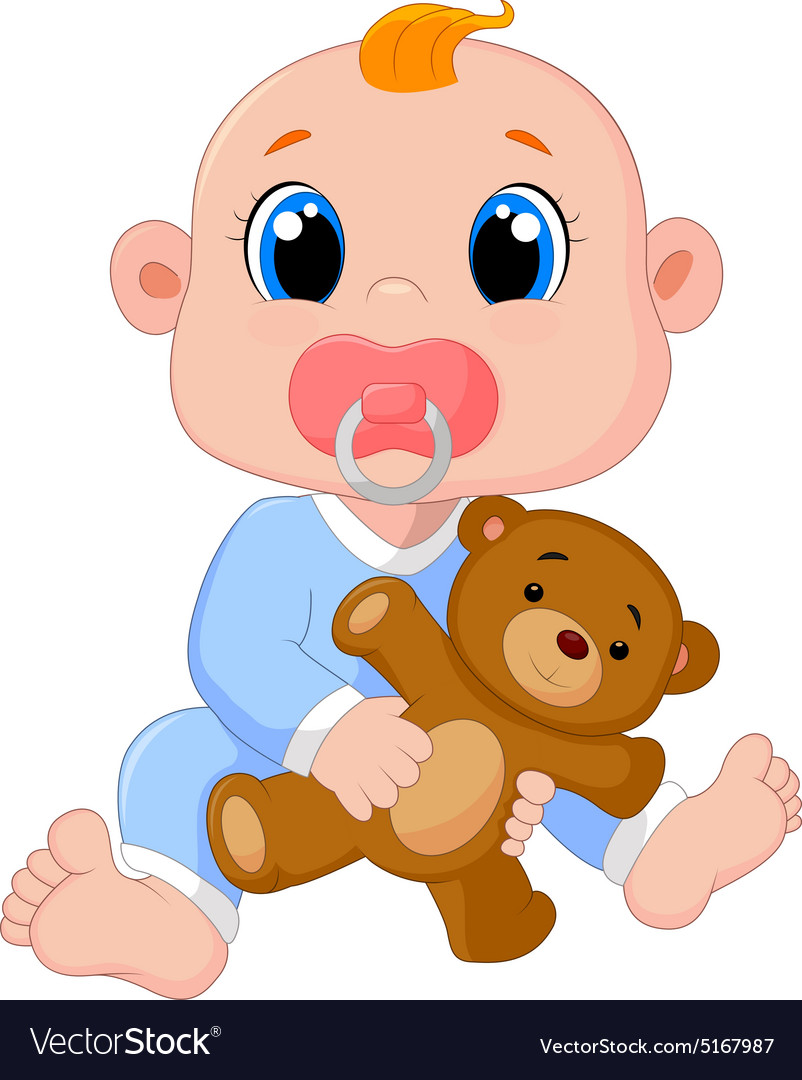 Baby Boy With Pacifiers and Toys.