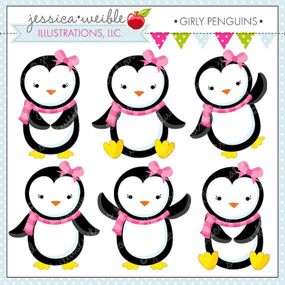 Girly Penguins Cute Digital Clipart.