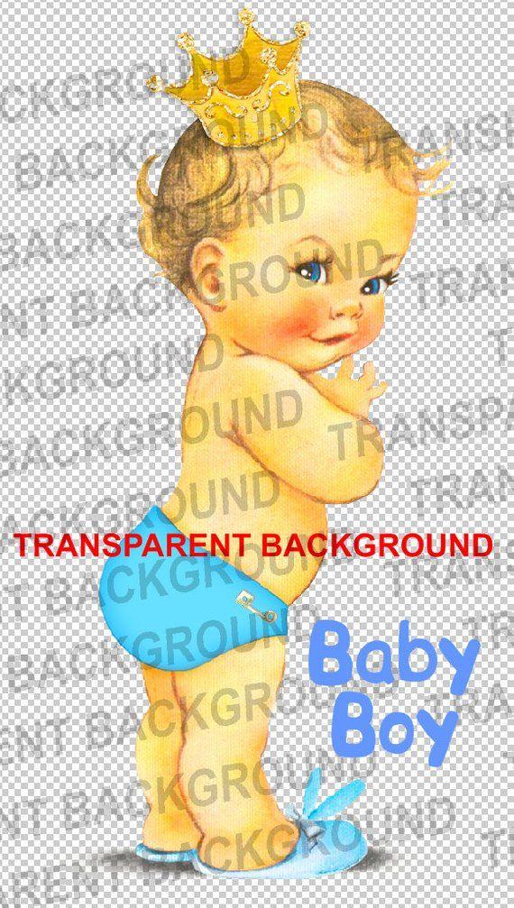 Cute Vintage Little Prince Crown Baby Boy Blue Pants Transparent PNG.