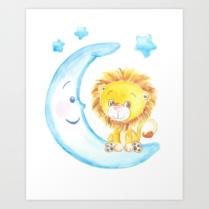 baby lion, blue moon with stars, baby boy room, baby shower gift,  watercolor painting Art Print by dariaart.