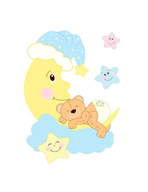 TEDDY BEAR DECAL Nursery Mural Wall Art Baby Moon Star.