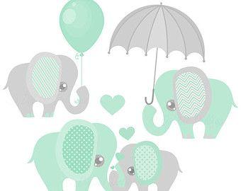 Baby Elephant Decor Clipart / Printable Elephant Baby Shower.