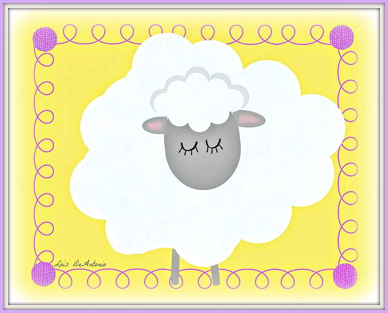 Amazon.com: Cute sheep art print Whimsical Lamb nursery.