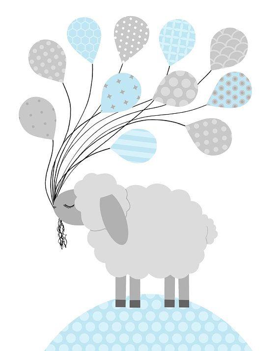 Lamb Nursery Decor, Sheep Wall Art, Baby Boy Decor, Boy Wall.