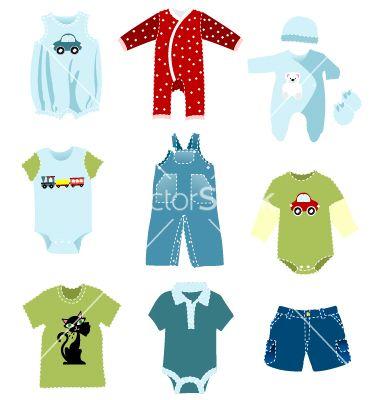 Baby boy elements clothes vector on VectorStock.