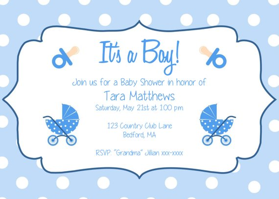 Boy Baby Shower Party Invitation Template.