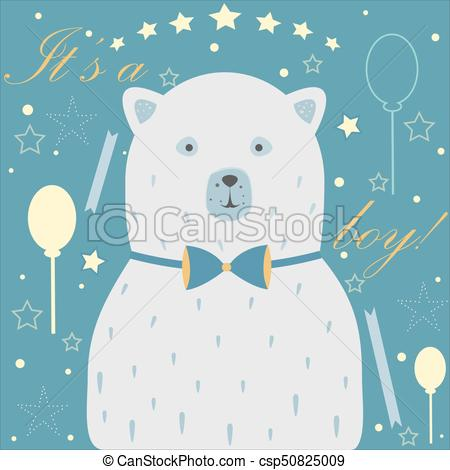 Baby Boy Birth announcement. Baby shower invitation card. Cute White Bear  announces the arrival of a baby boy..