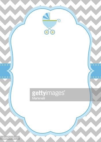Baby Boy Shower Invitation Stock Vector.