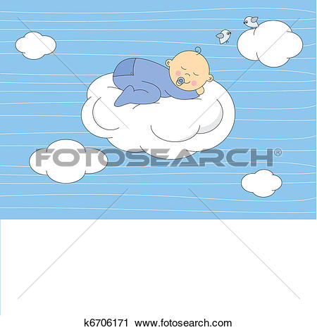 Clipart of baby boy sleeping on the moon k6706171.