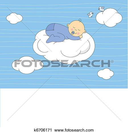 Clipart of baby boy sleeping on the moon k6706171.