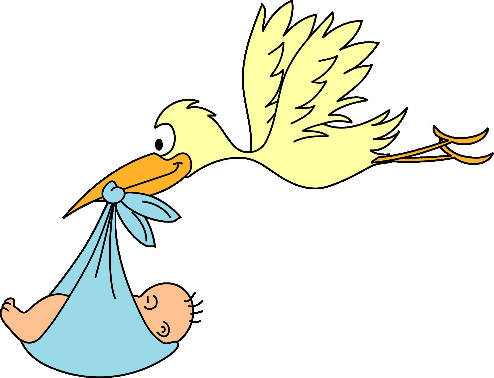 Baby Boy Stork Clipart.