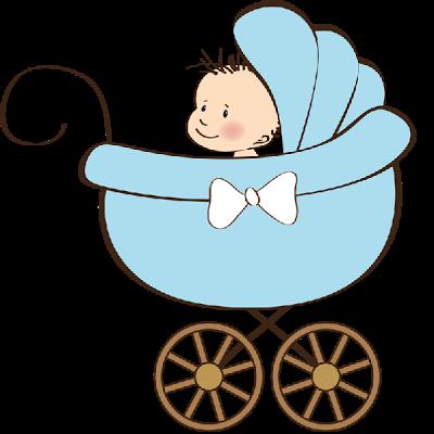 Baby boy in stroller clipart.
