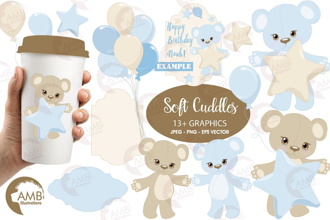 Teddy bear, nursery, baby boy, baby blue bear, clipart, graphics,  llustrations AMB.