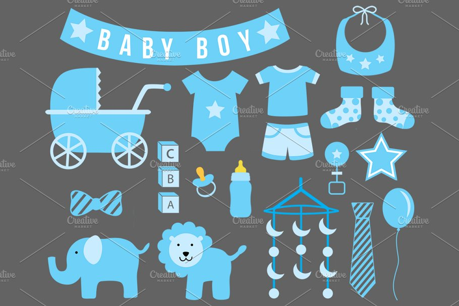 Baby (Boy) Shower Cliparts.