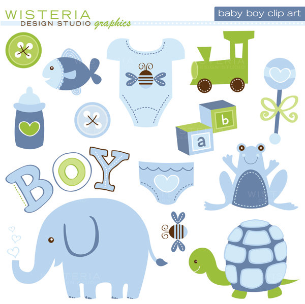 Baby Boy Items Clipart.