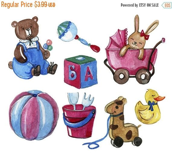 50% OFF SALE Baby ClipArt Vintage Retro Toys by.