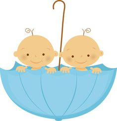 Twins Baby Shower Clipart.