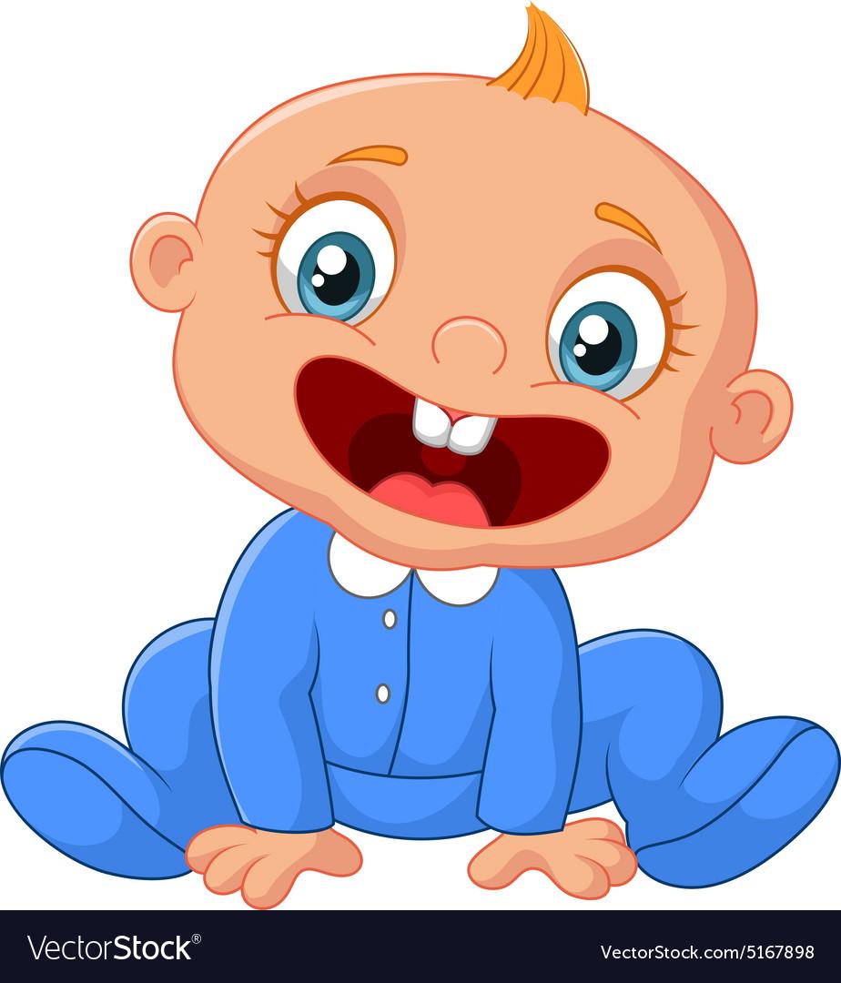 Cartoon happy baby boy.