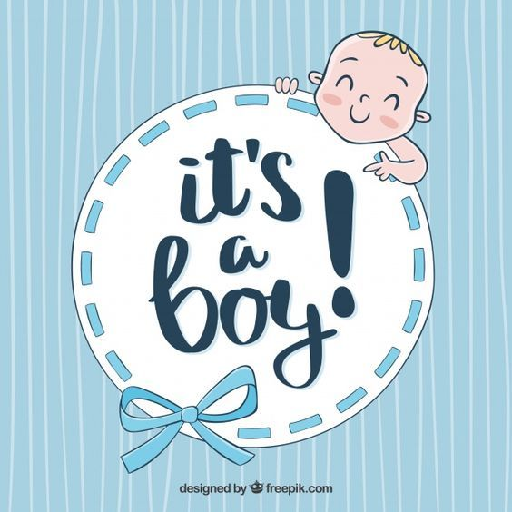 Cute baby boy background in hand drawn style Free Vector.