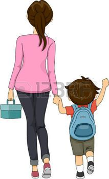 parents and children: Illustration of Mom and Boy walking to.