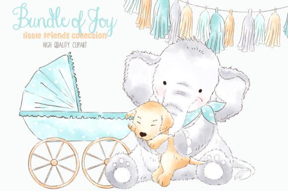 Elephant Baby Boy Watercolor Clipart.