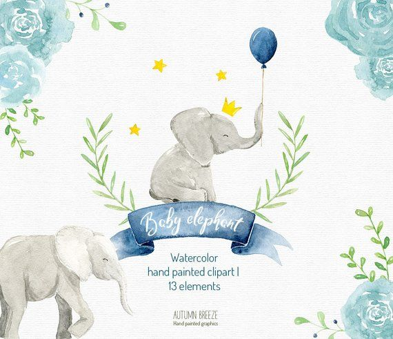 watercolor baby elephant clipart, watercolor clipart.