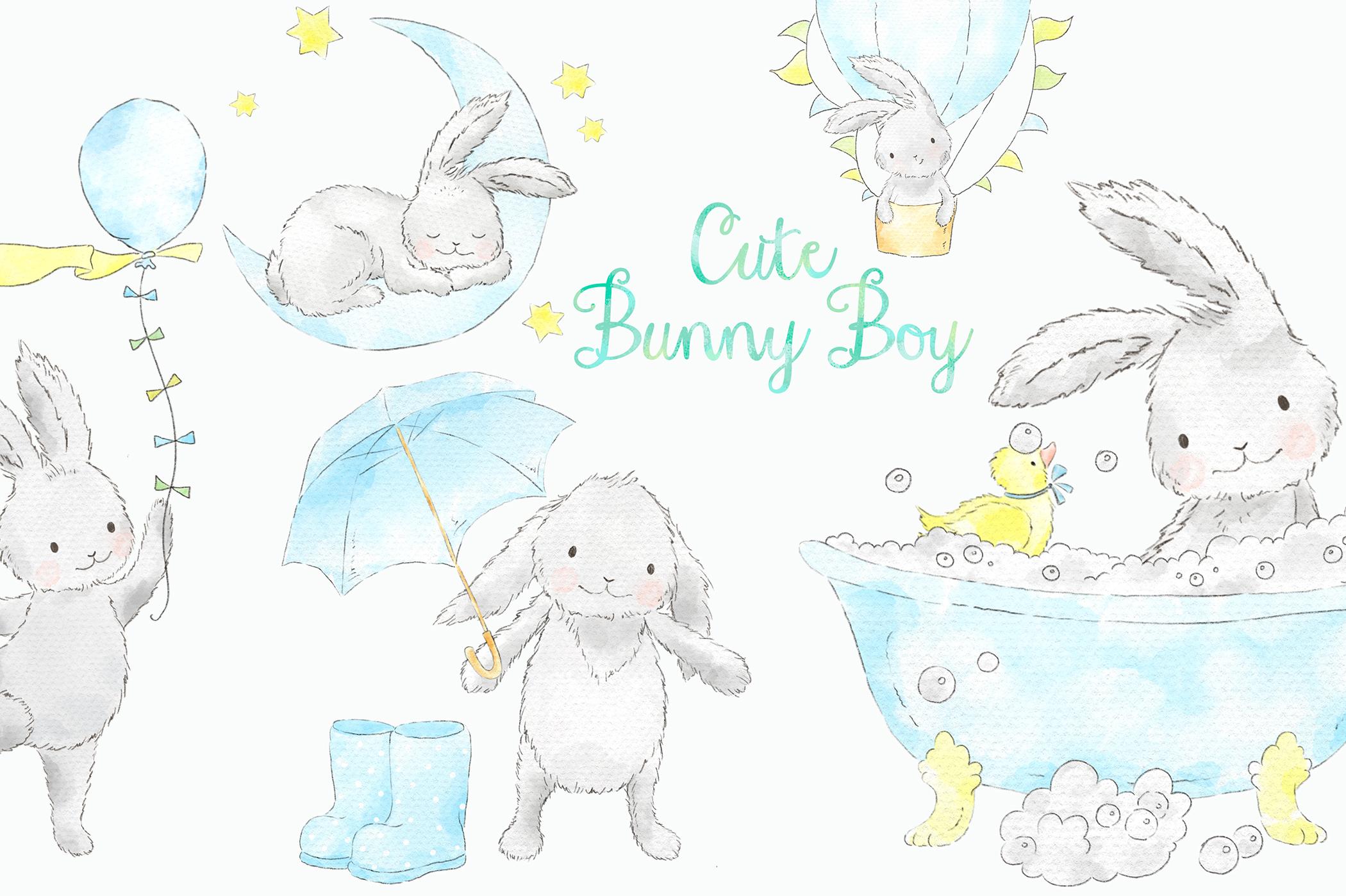 Cute Blue Bunny Boy Watercolor Clip Art.