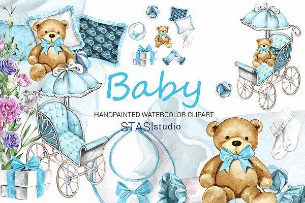 Baby Boy Watercolor Clipart by STASIstudio on.