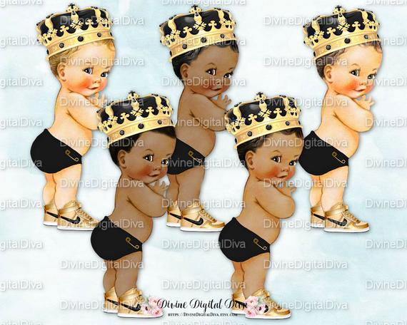 Little Prince Gold Ornate Crown Black Diaper Sneakers.