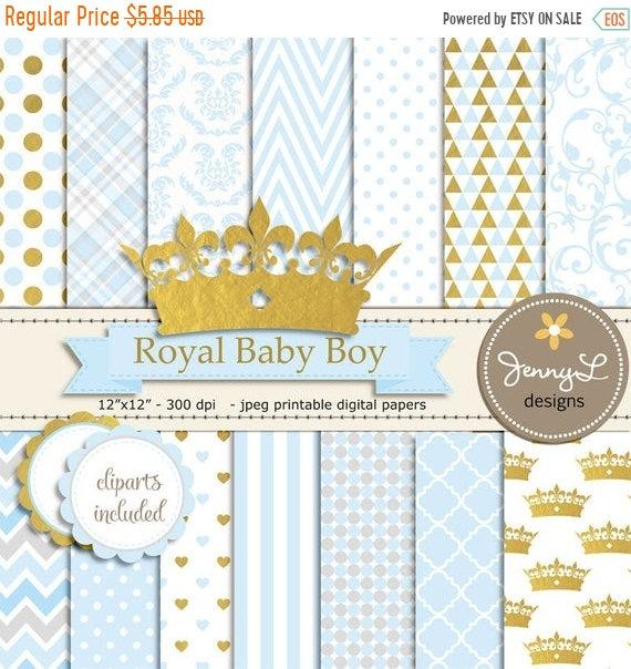 40% OFF Gold Crown Digital papers and Clipart, Royal Prince Boy Baby.