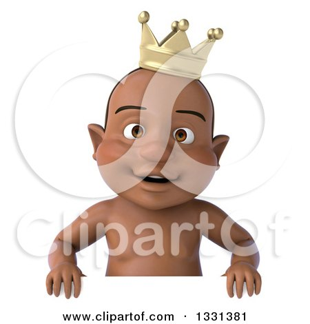 Clipart of a 3d Black Baby Boy Wearing a Crown and Smiling over a.