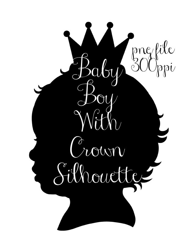Baby Boy With Crown Silhouette PNG Graphics By CheriesArtsnCrafts.