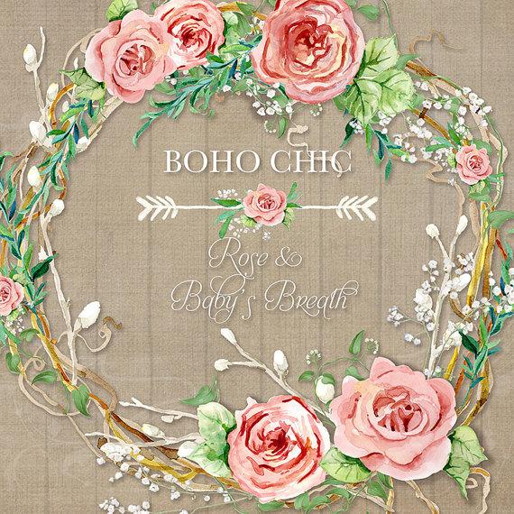 Watercolor Boho Rose Baby\'s Breath Wreath Digital Clip Art.