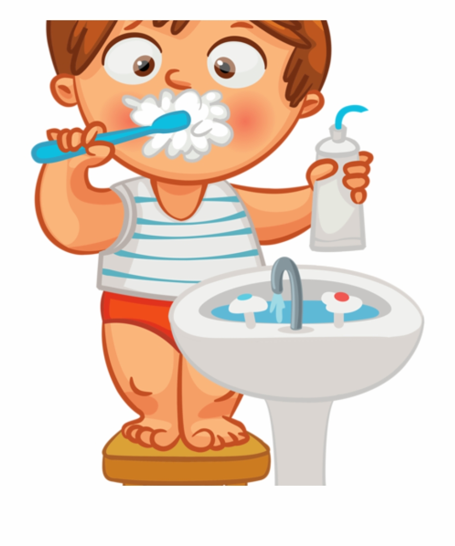 Child Brushing Teeth Clipart.