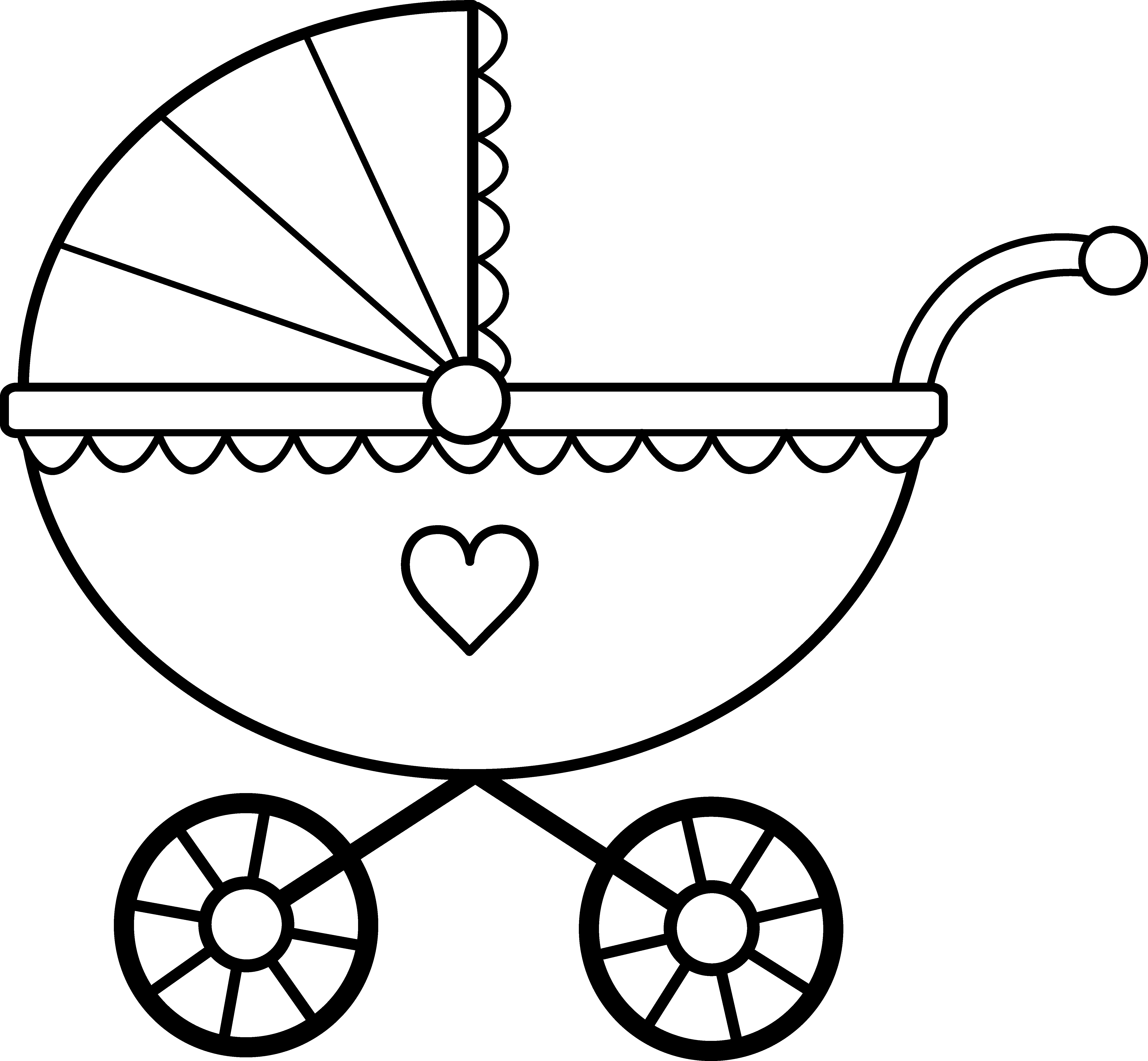 Baby Carriage Line Art.