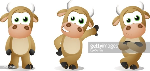 Bull Baby Poses Clipart Image.