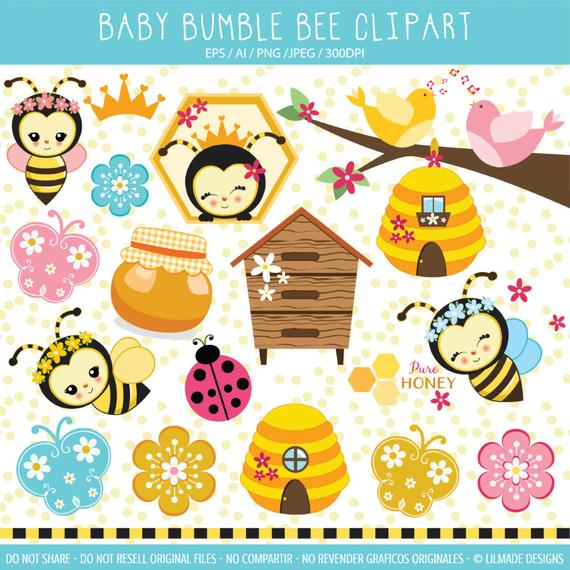 Bee clipart featuring cute baby bumble bees, beehive, cute queen bee.